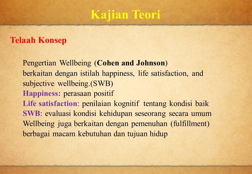 Kajian Teori Telaah Konsep Pengertian Wellbeing (Cohen and Johnson)