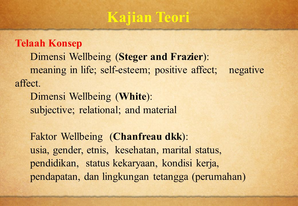 Kajian Teori Telaah Konsep Dimensi Wellbeing (Steger and Frazier):