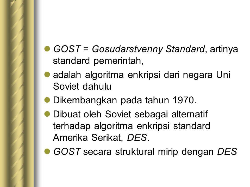 GOST = Gosudarstvenny Standard, artinya standard pemerintah,