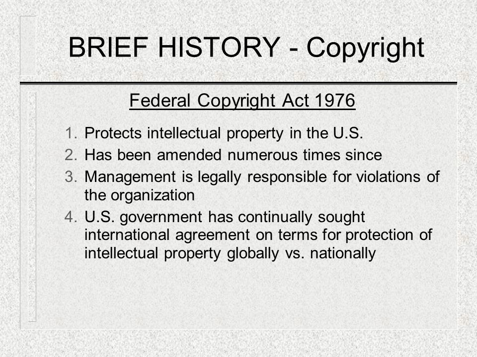 BRIEF HISTORY - Copyright