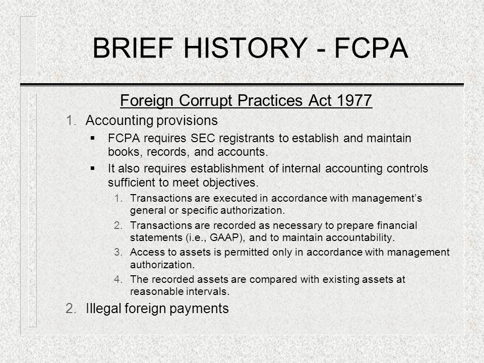 Foreign Corrupt Practices Act 1977
