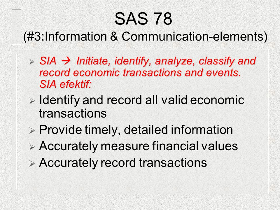 SAS 78 (#3:Information & Communication-elements)