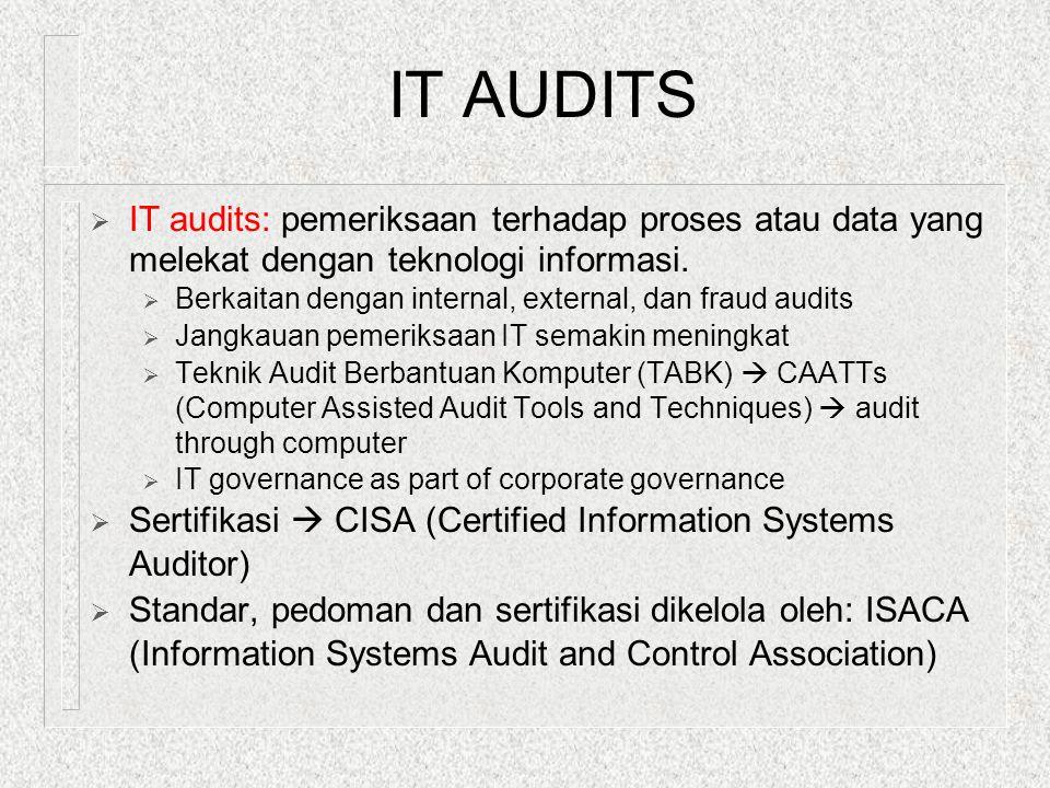 IT AUDITS IT audits: pemeriksaan terhadap proses atau data yang melekat dengan teknologi informasi.