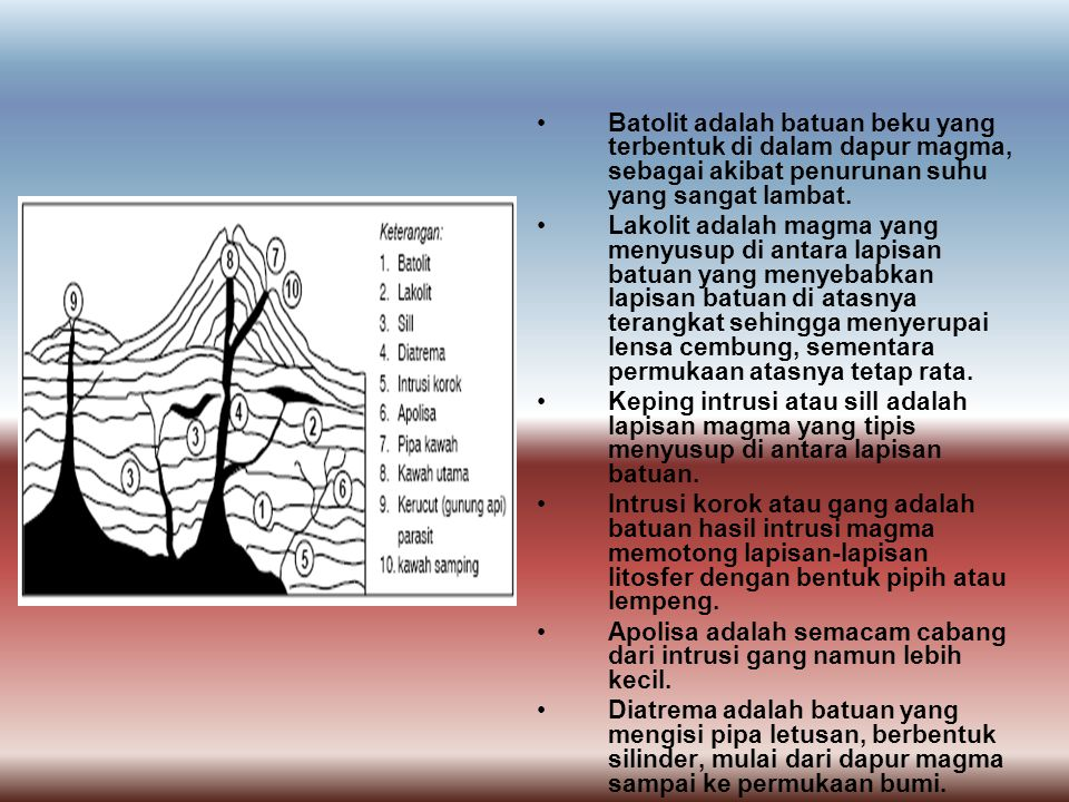 Batolit adalah batuan beku yang terbentuk di dalam dapur magma, sebagai akibat penurunan suhu yang sangat lambat.