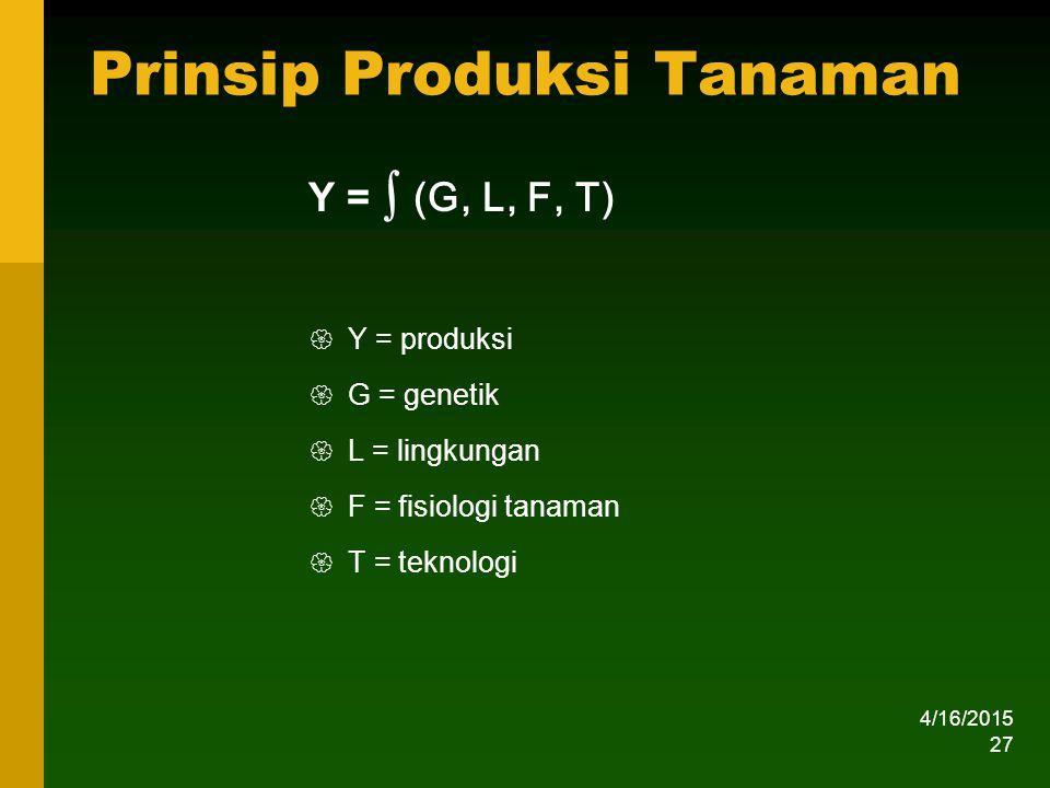 Prinsip Produksi Tanaman