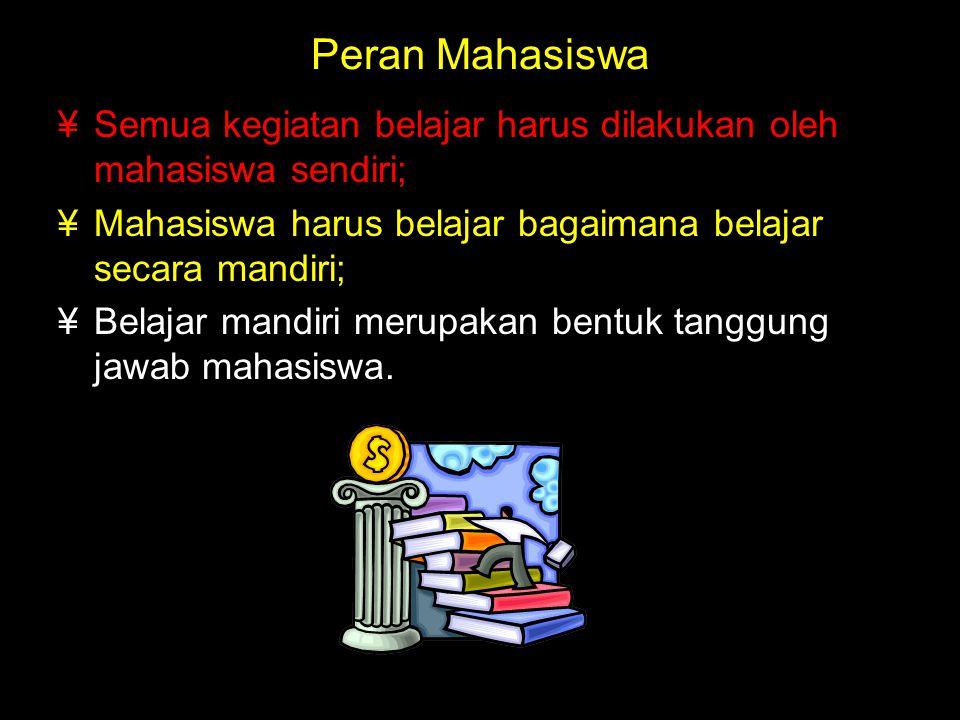 Peran Mahasiswa Semua kegiatan belajar harus dilakukan oleh mahasiswa sendiri; Mahasiswa harus belajar bagaimana belajar secara mandiri;