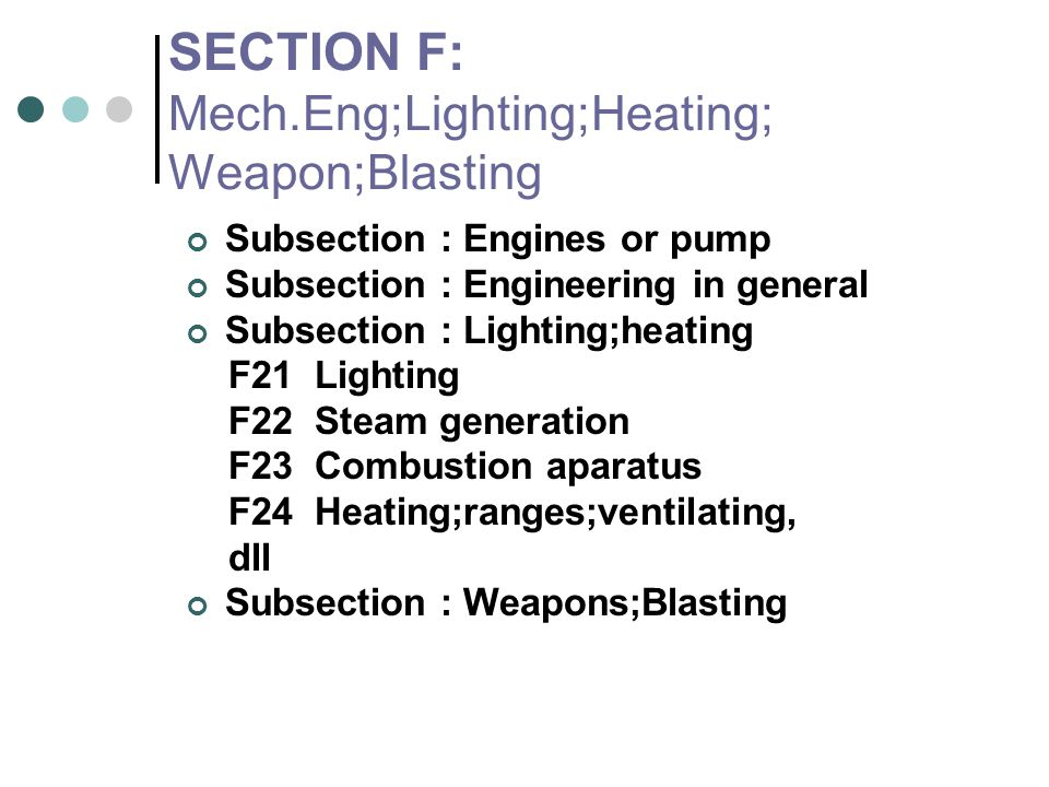 SECTION F: Mech.Eng;Lighting;Heating; Weapon;Blasting