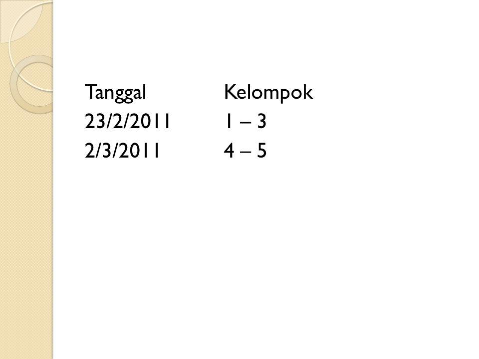 Tanggal Kelompok 23/2/2011 1 – 3 2/3/2011 4 – 5