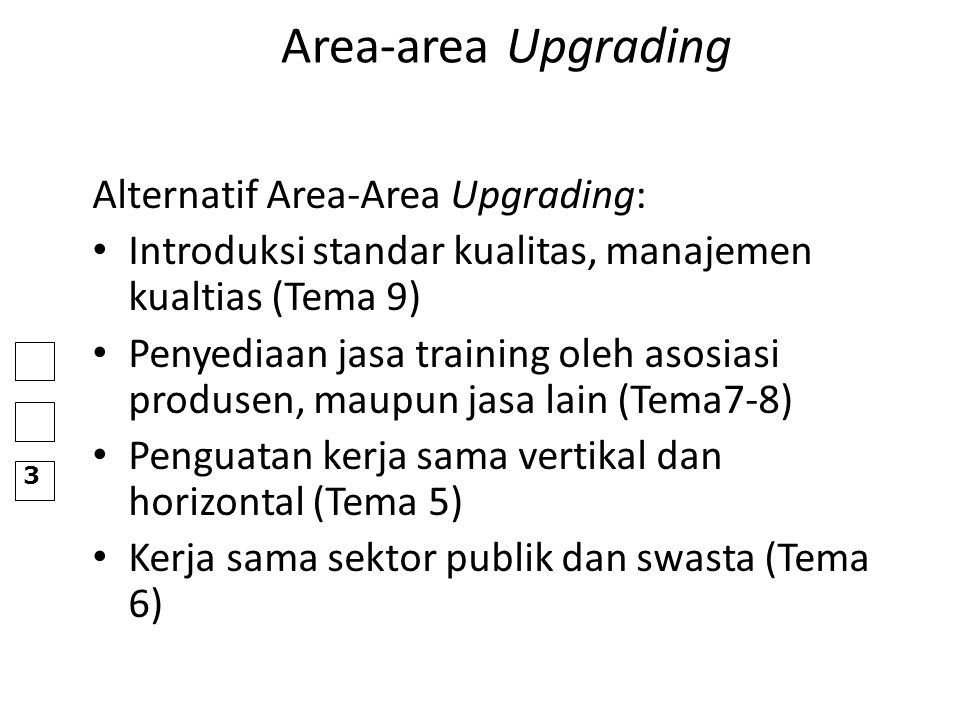 Area-area Upgrading Alternatif Area-Area Upgrading: