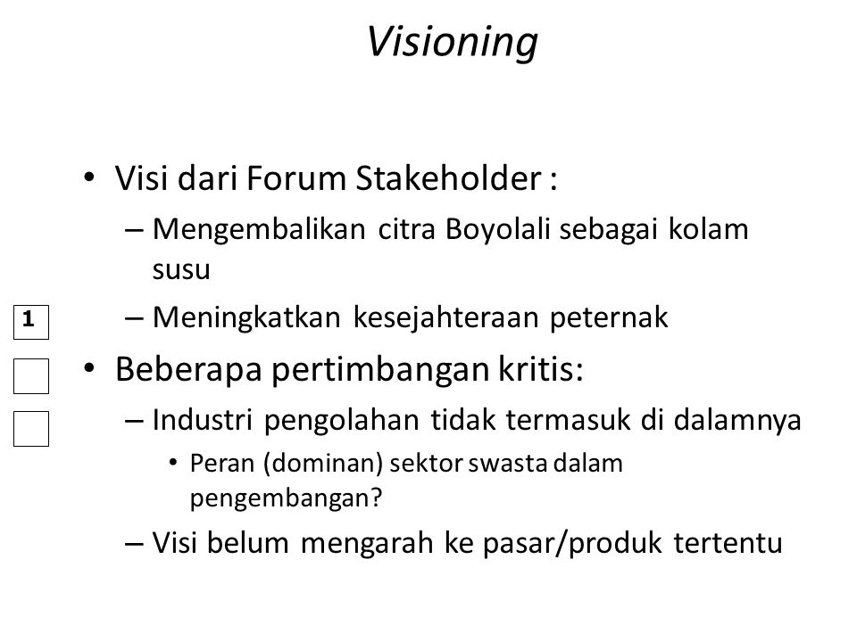 Visioning Visi dari Forum Stakeholder : Beberapa pertimbangan kritis: