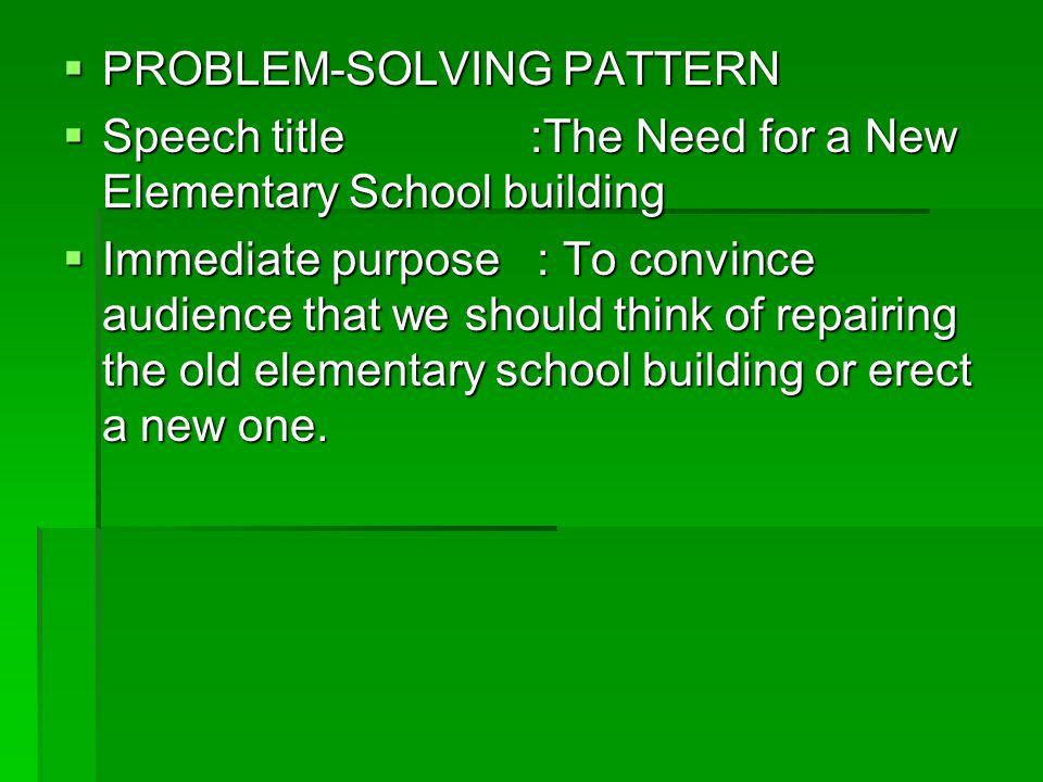 PROBLEM-SOLVING PATTERN