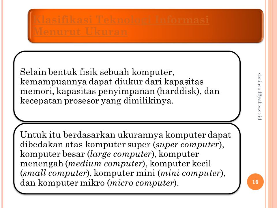 Klasifikasi Teknologi Informasi Menurut Ukuran