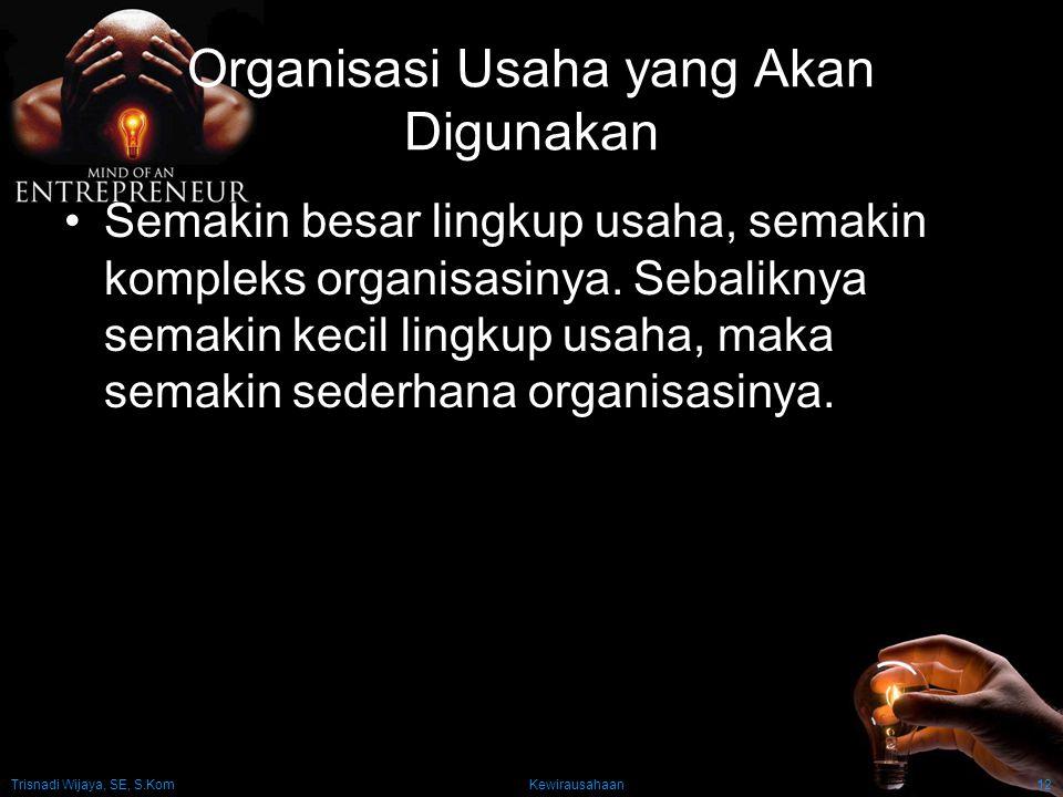 Organisasi Usaha yang Akan Digunakan