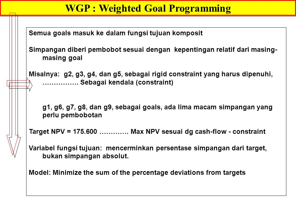 WGP : Weighted Goal Programming