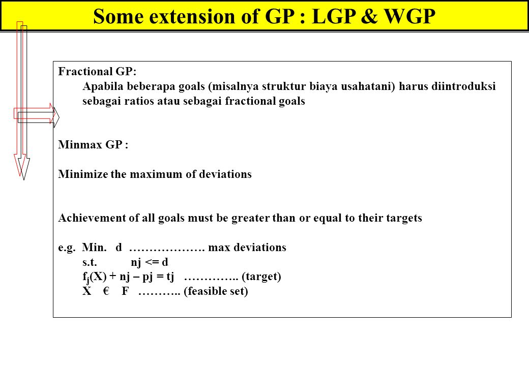 Some extension of GP : LGP & WGP