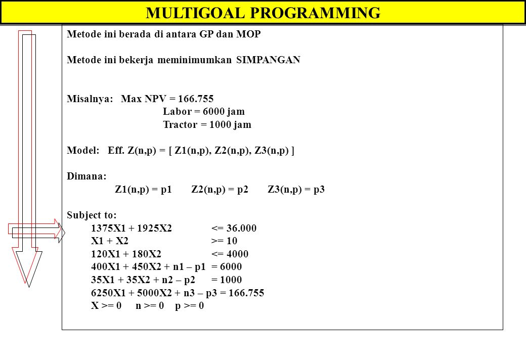 MULTIGOAL PROGRAMMING