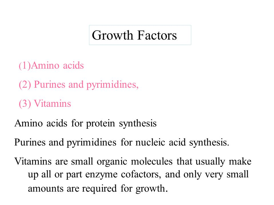 Growth Factors (2) Purines and pyrimidines, (3) Vitamins