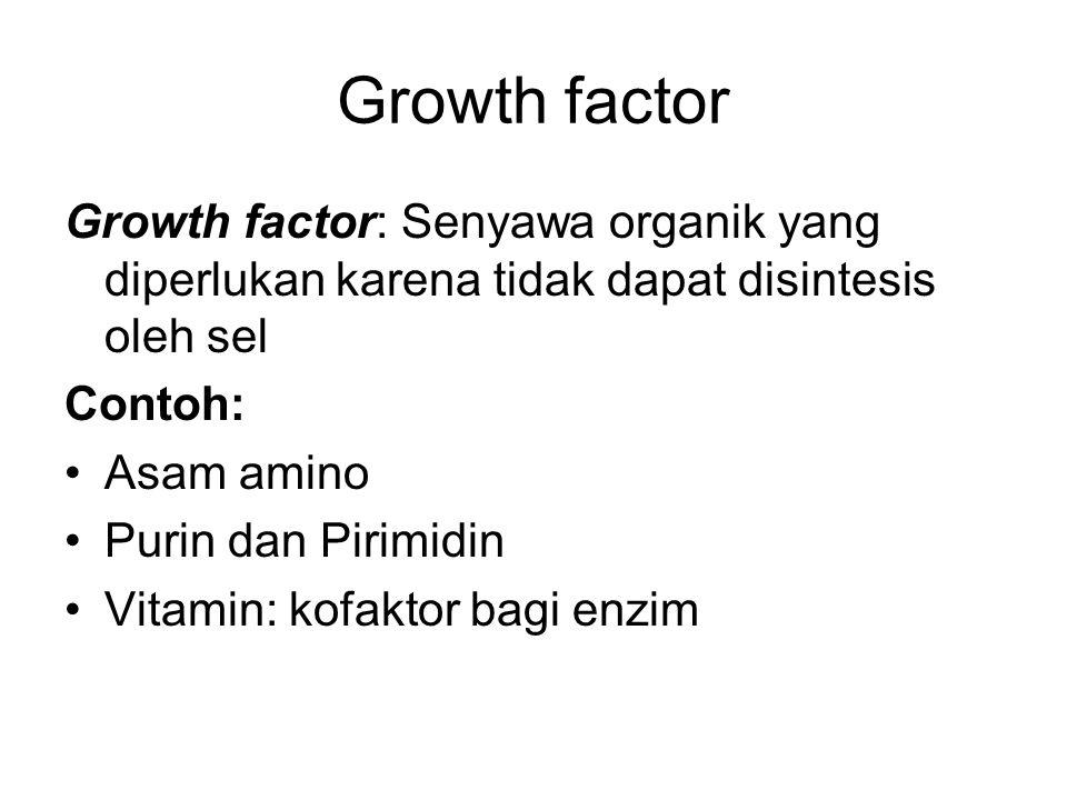 Growth factor Growth factor: Senyawa organik yang diperlukan karena tidak dapat disintesis oleh sel.