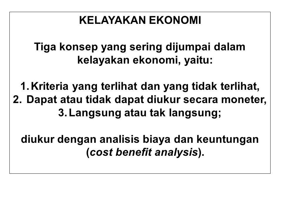 Tiga konsep yang sering dijumpai dalam kelayakan ekonomi, yaitu: