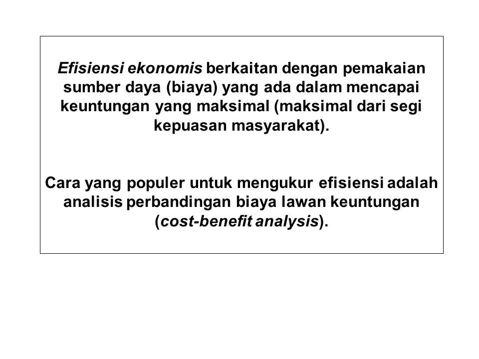Efisiensi ekonomis berkaitan dengan pemakaian sumber daya (biaya) yang ada dalam mencapai keuntungan yang maksimal (maksimal dari segi kepuasan masyarakat).