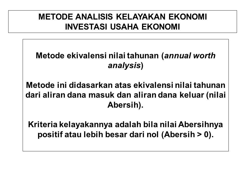 METODE ANALISIS KELAYAKAN EKONOMI INVESTASI USAHA EKONOMI