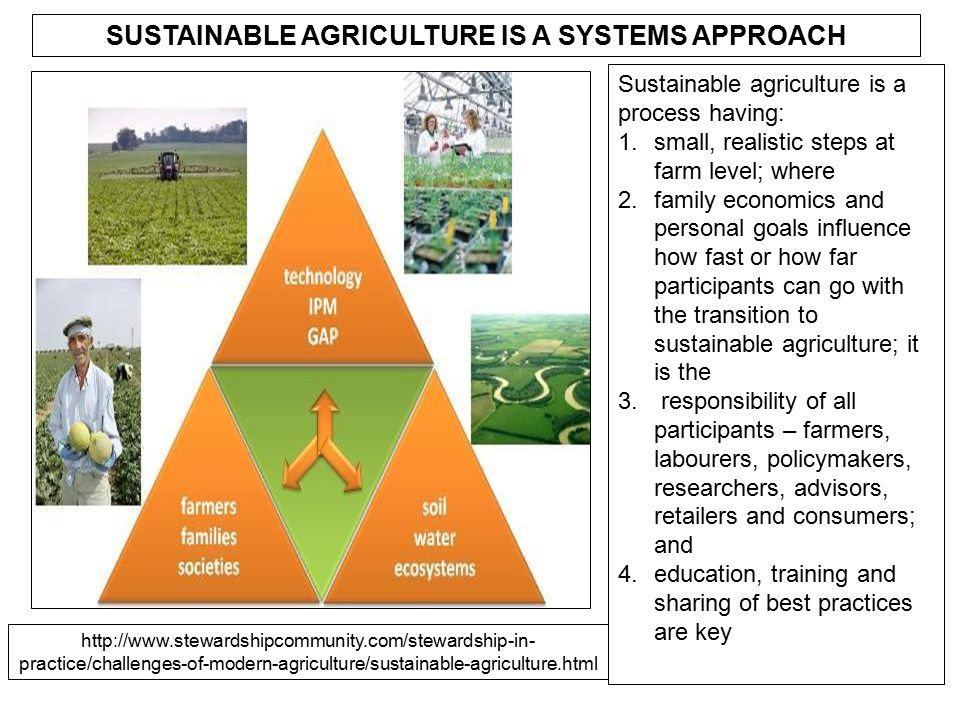 SUSTAINABLE AGRICULTURE IS A SYSTEMS APPROACH