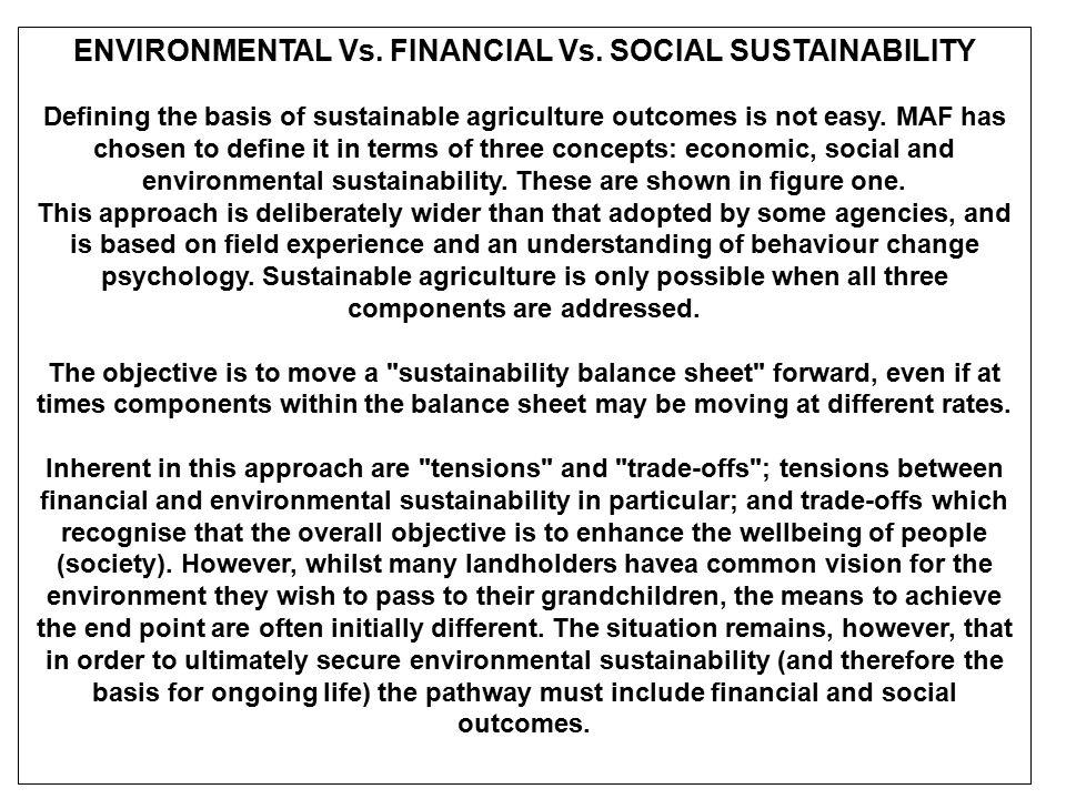 ENVIRONMENTAL Vs. FINANCIAL Vs. SOCIAL SUSTAINABILITY