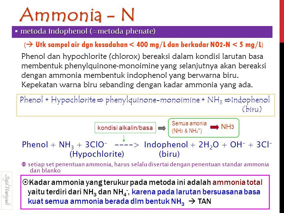 Ammonia - N metoda Indophenol (=metoda phenate) ( Utk sampel air dgn kesadahan < 400 mg/L dan berkadar NO2-N < 5 mg/L)