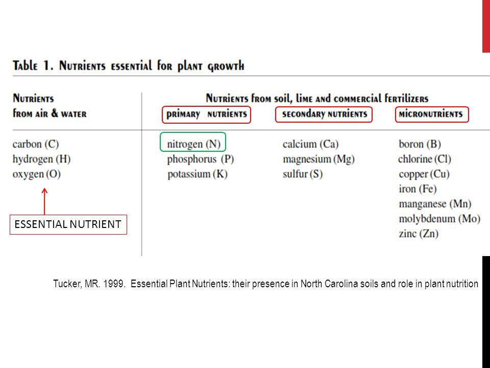 ESSENTIAL NUTRIENT Tucker, MR. 1999.