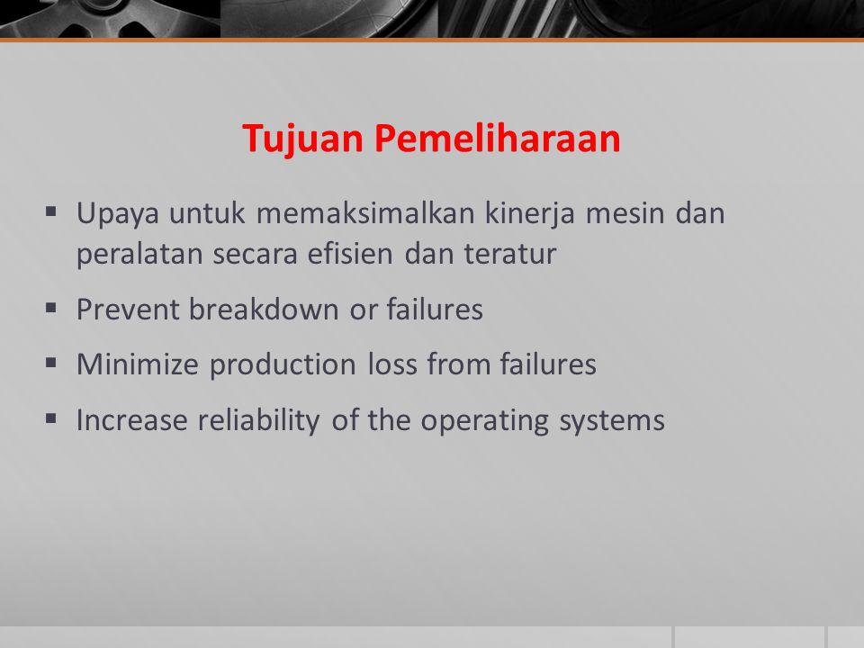 Tujuan Pemeliharaan Upaya untuk memaksimalkan kinerja mesin dan peralatan secara efisien dan teratur.