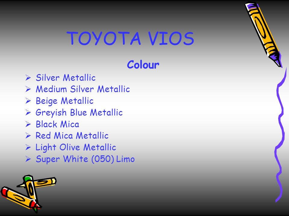 TOYOTA VIOS Colour Silver Metallic Medium Silver Metallic