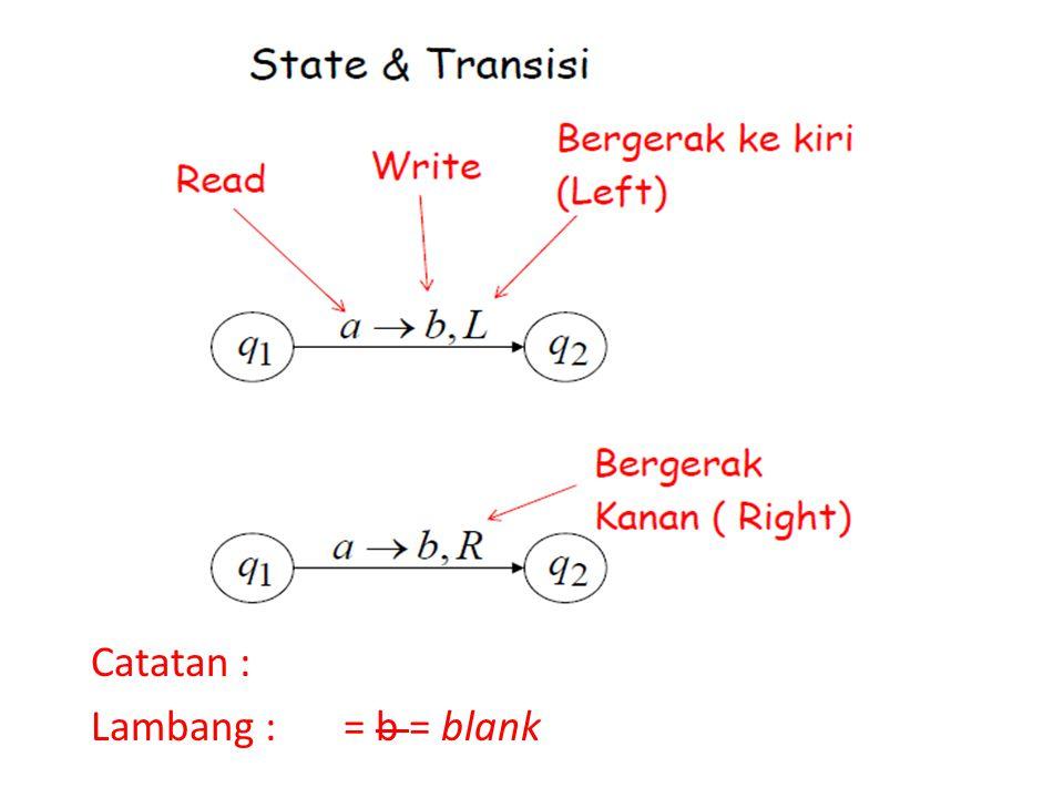 Catatan : Lambang : = b = blank