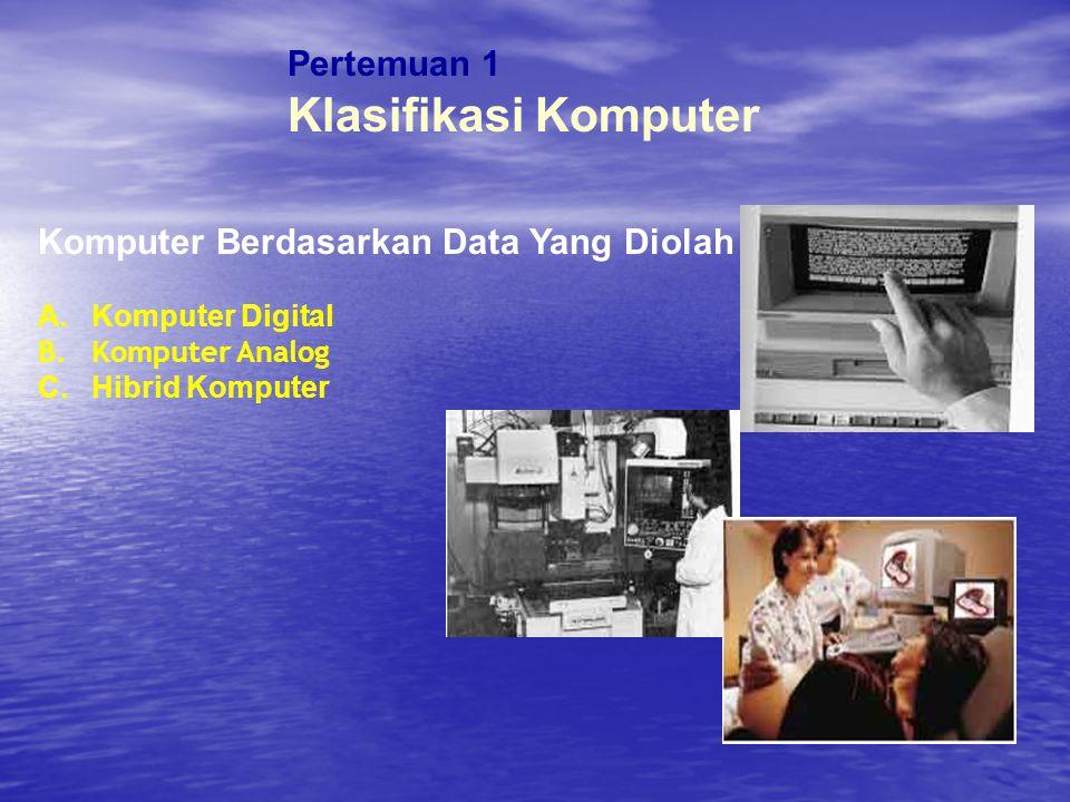 Klasifikasi Komputer Pertemuan 1 Komputer Berdasarkan Data Yang Diolah