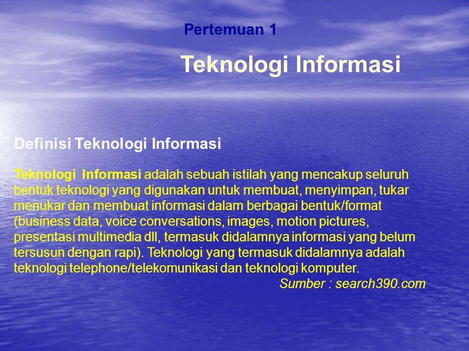 Teknologi Informasi Pertemuan 1 Definisi Teknologi Informasi