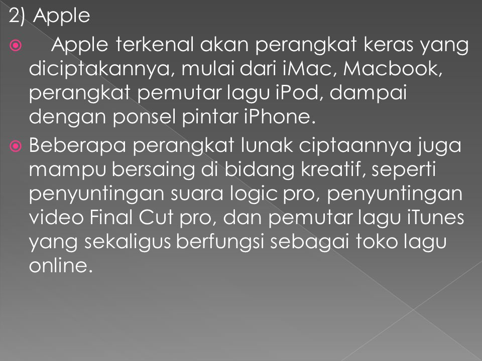 2) Apple