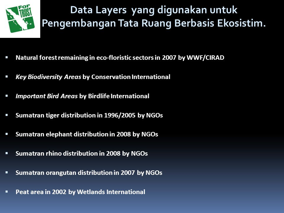 Data Layers yang digunakan untuk Pengembangan Tata Ruang Berbasis Ekosistim.