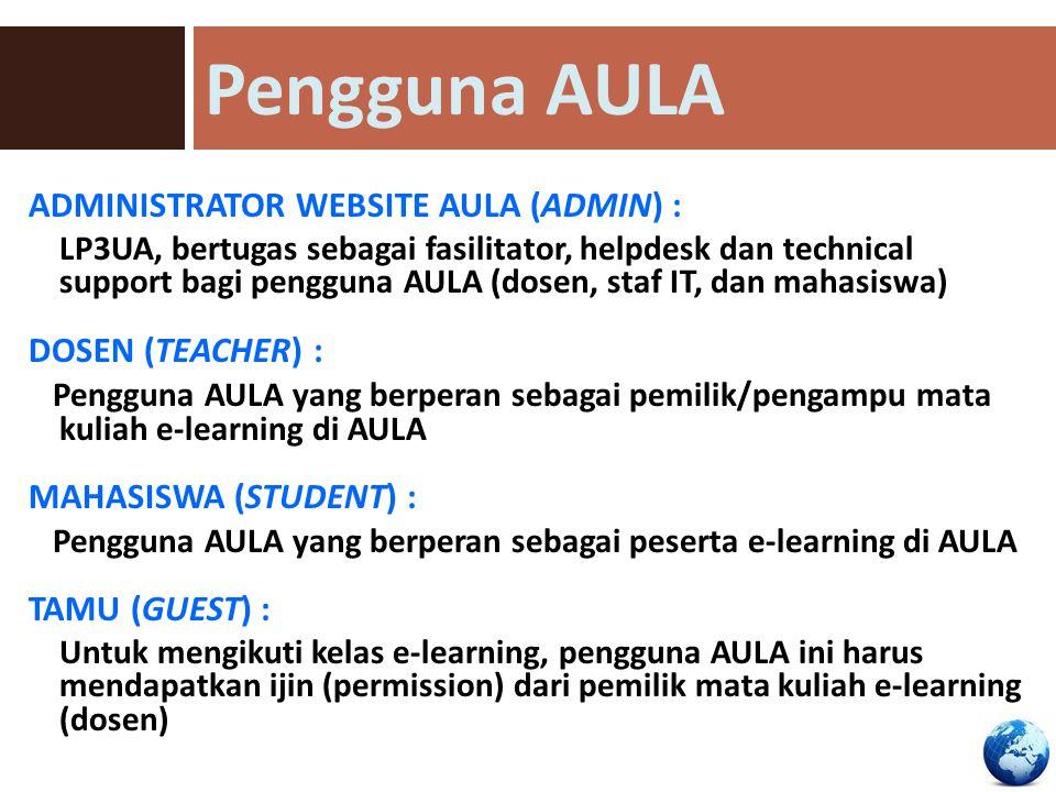 Pengguna AULA ADMINISTRATOR WEBSITE AULA (ADMIN) : DOSEN (TEACHER) :