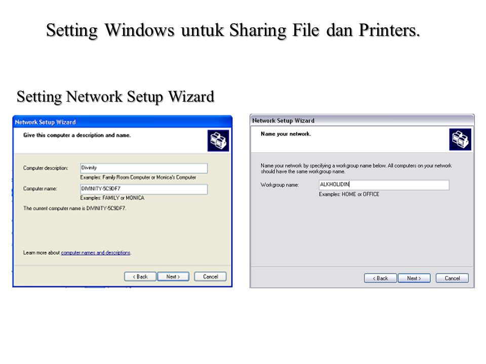 Setting Windows untuk Sharing File dan Printers.