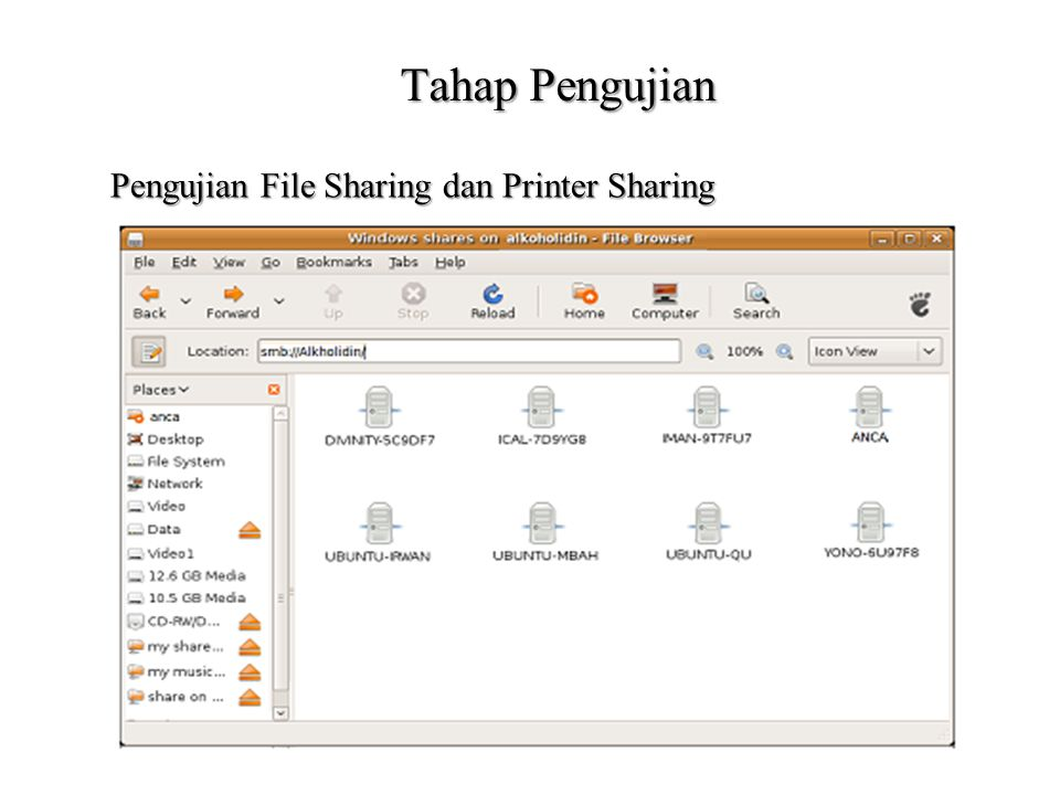 Tahap Pengujian Pengujian File Sharing dan Printer Sharing