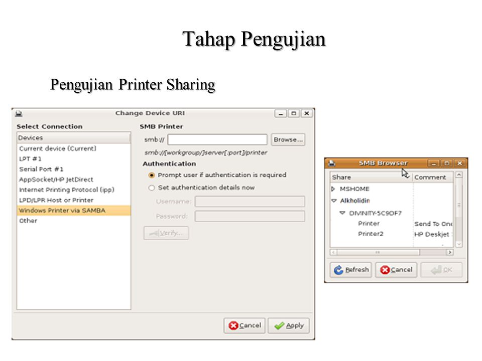 Tahap Pengujian Pengujian Printer Sharing
