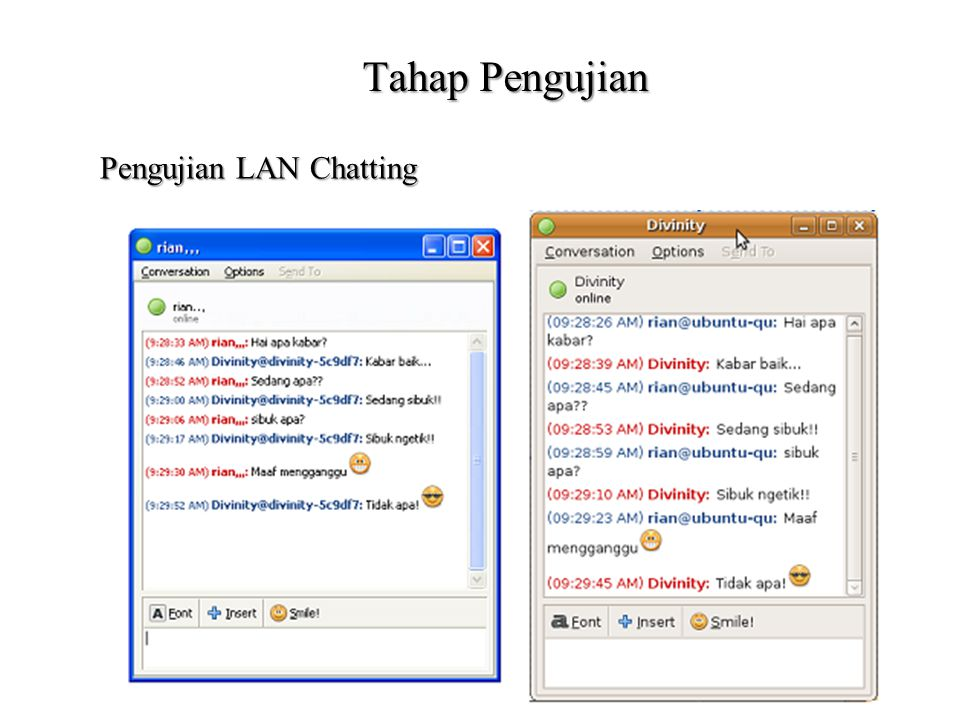 Tahap Pengujian Pengujian LAN Chatting