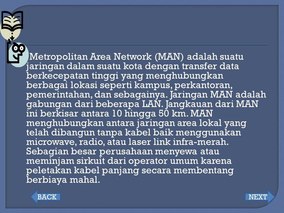 Metropolitan Area Network (MAN) adalah suatu jaringan dalam suatu kota dengan transfer data berkecepatan tinggi yang menghubungkan berbagai lokasi seperti kampus, perkantoran, pemerintahan, dan sebagainya. Jaringan MAN adalah gabungan dari beberapa LAN. Jangkauan dari MAN ini berkisar antara 10 hingga 50 km. MAN menghubungkan antara jaringan area lokal yang telah dibangun tanpa kabel baik menggunakan microwave, radio, atau laser link infra-merah. Sebagian besar perusahaan menyewa atau meminjam sirkuit dari operator umum karena peletakan kabel panjang secara membentang berbiaya mahal.