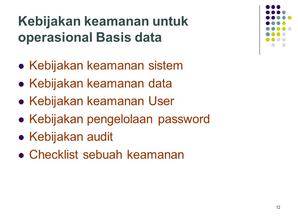 Kebijakan keamanan untuk operasional Basis data