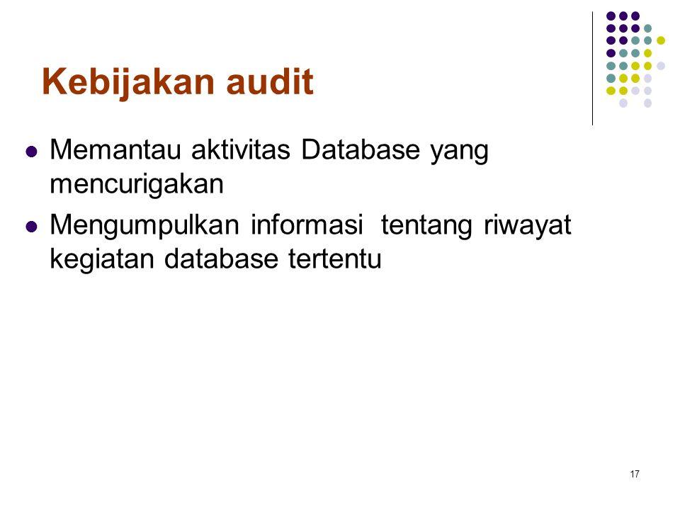 Kebijakan audit Memantau aktivitas Database yang mencurigakan