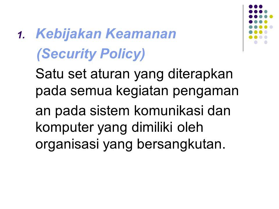 Kebijakan Keamanan (Security Policy) Satu set aturan yang diterapkan pada semua kegiatan pengaman.
