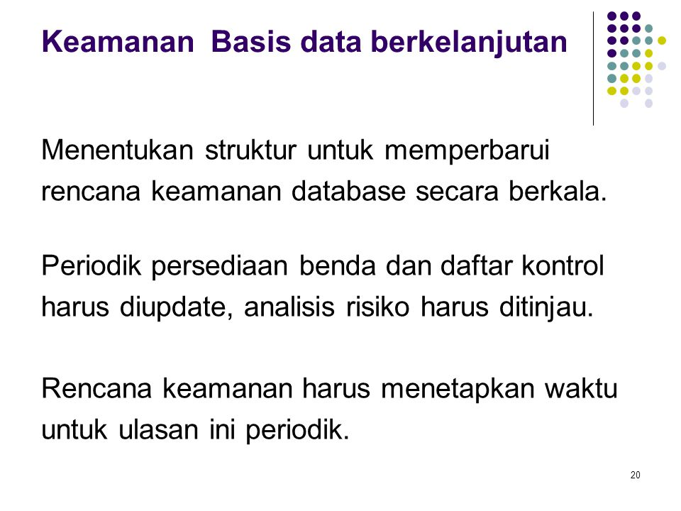 Keamanan Basis data berkelanjutan
