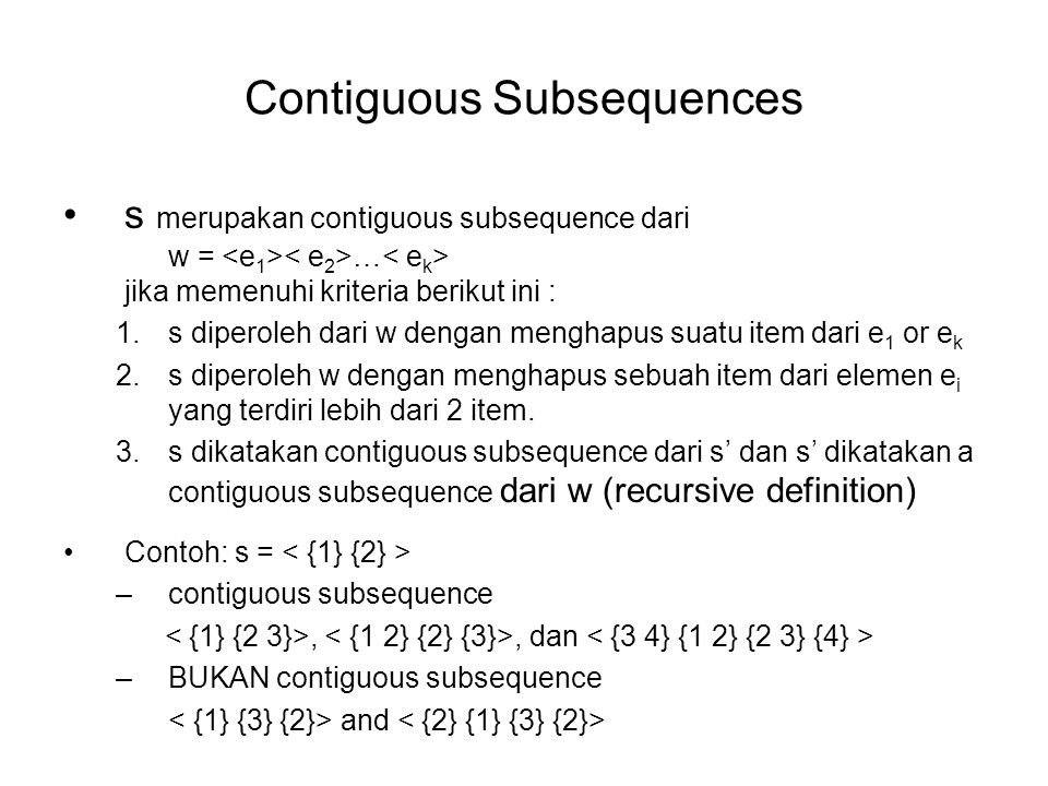 Contiguous Subsequences