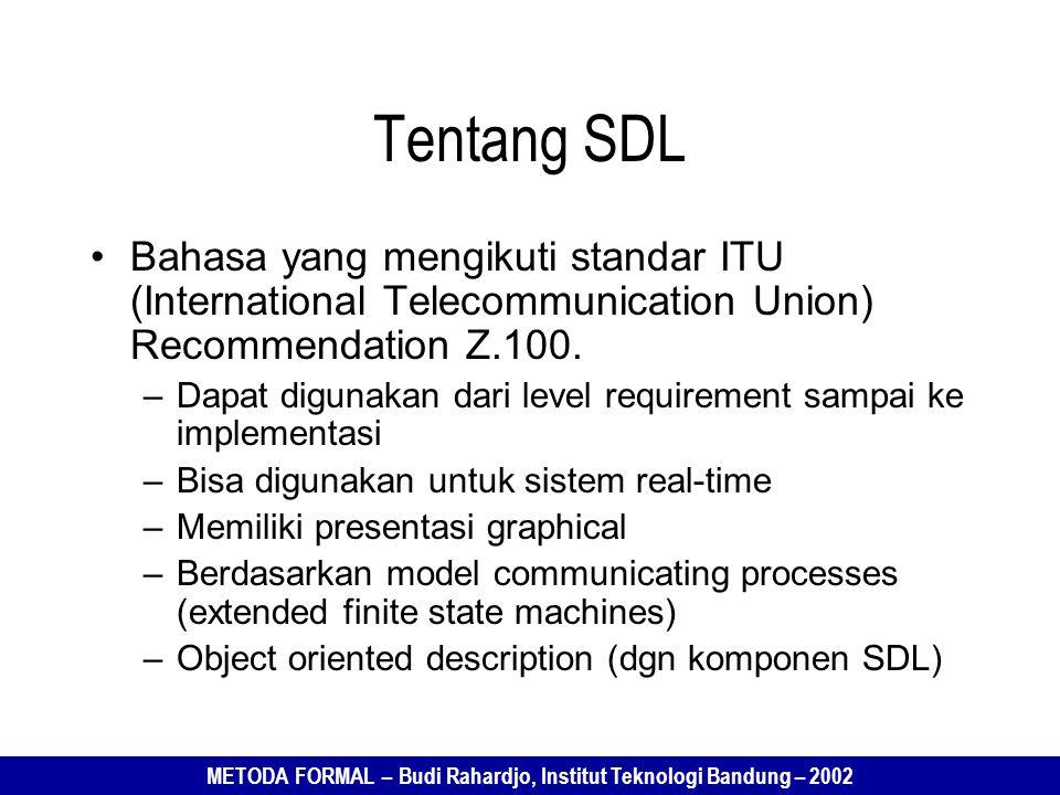 Tentang SDL Bahasa yang mengikuti standar ITU (International Telecommunication Union) Recommendation Z.100.