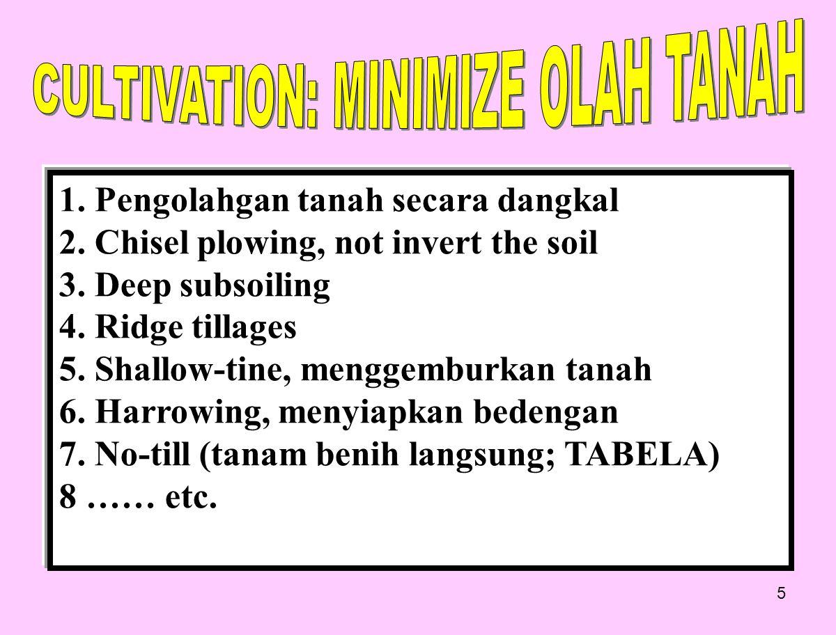 CULTIVATION: MINIMIZE OLAH TANAH
