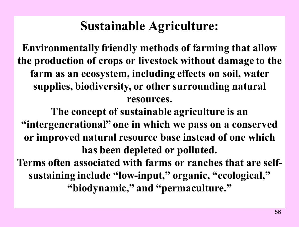 Sustainable Agriculture: